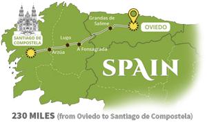 Map - 230 miles from Oviedo to Santiago de Compostela